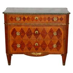 Swedish Marble Top Marquetry Commode