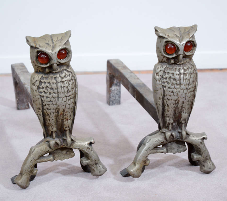 1930's Cast Iron Owl Form Andirons with Amber Glass Eyes at 1stdibs