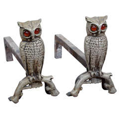 1930's Cast Iron Owl Form Andirons with Amber Glass Eyes