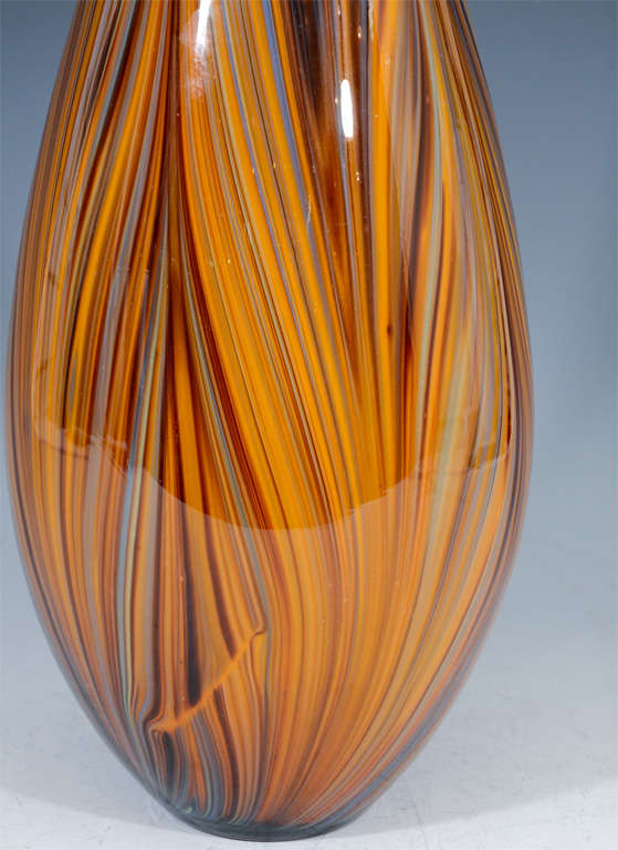 Mid Century Murano Art Glass Striped Vase At 1stdibs