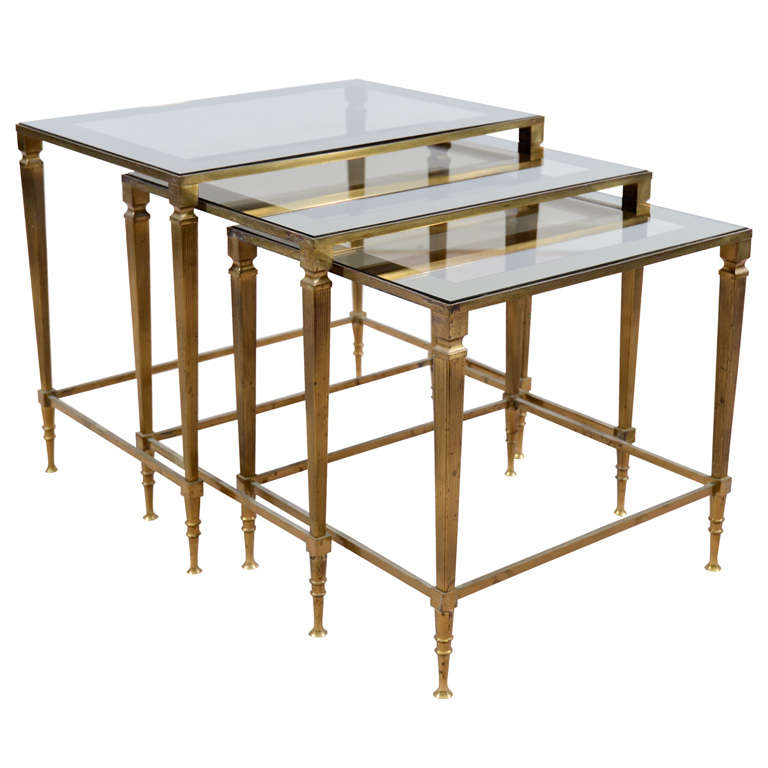 Mid Century Brass And Glass Nesting Tables Att To Maison Jansen 1