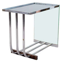 Donald Deskey Art Deco Side Table in Glass and Chrome