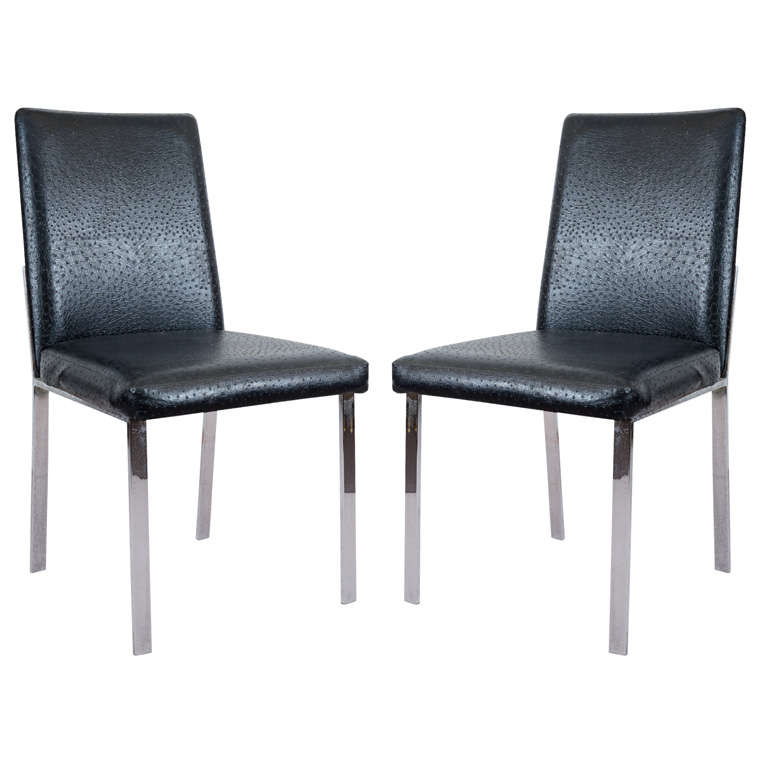 Mid century set of 6 black leather and chrome dining for Leather and chrome dining chairs
