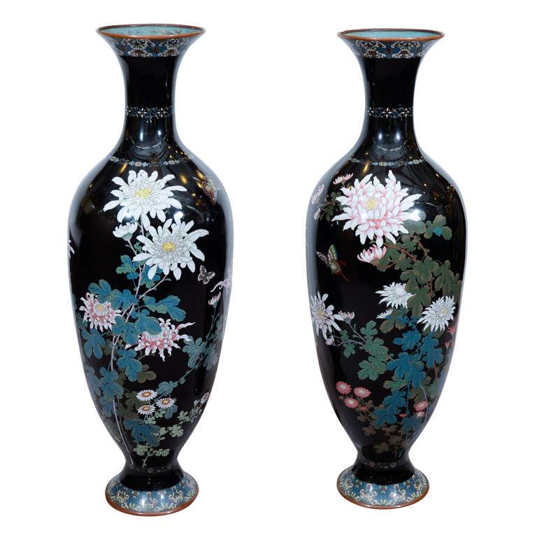 Pair of Japanese Massive Cloisonne Enamel Baluster Vases