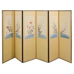 Korean Art Deco Period Six Panel Embroidered Screen