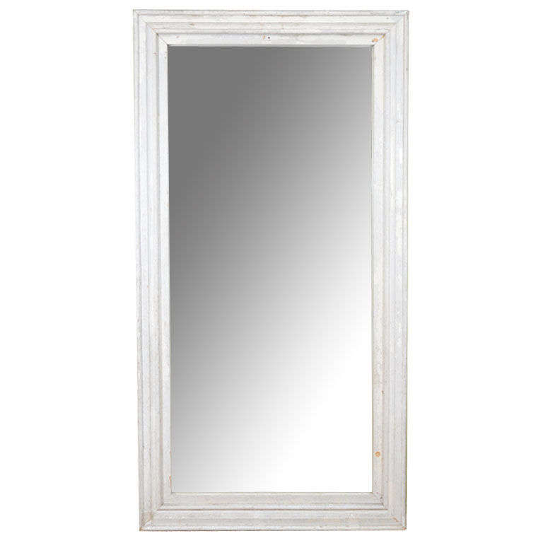 Large vintage mirror with age distressed laquered wood for Full length mirror with mirror frame