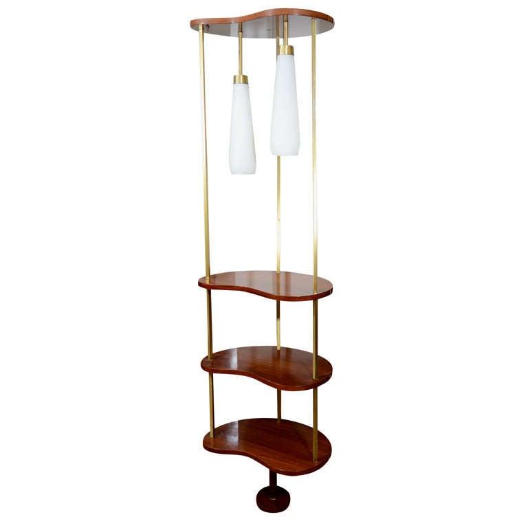 mid century modern free standing tension pole shelving. Black Bedroom Furniture Sets. Home Design Ideas