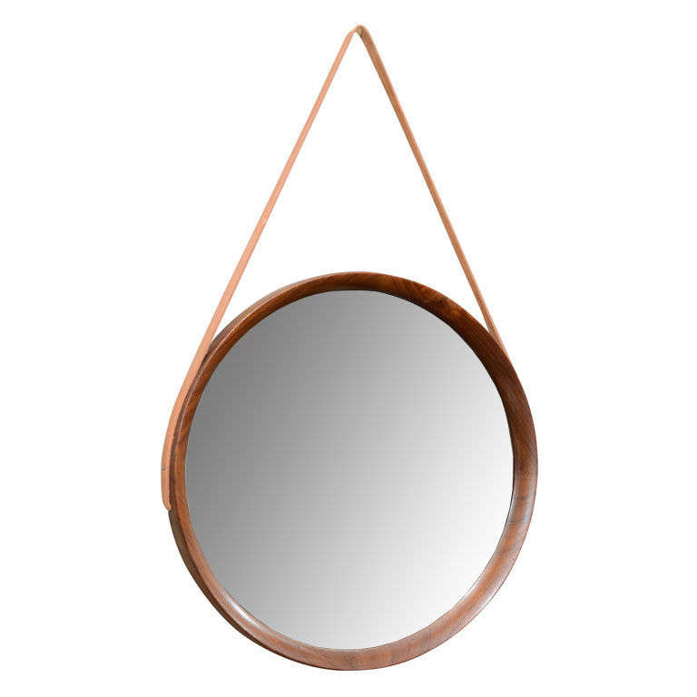 Mid Century Danish Modern Teak Wall Mirror With Leather Strap For