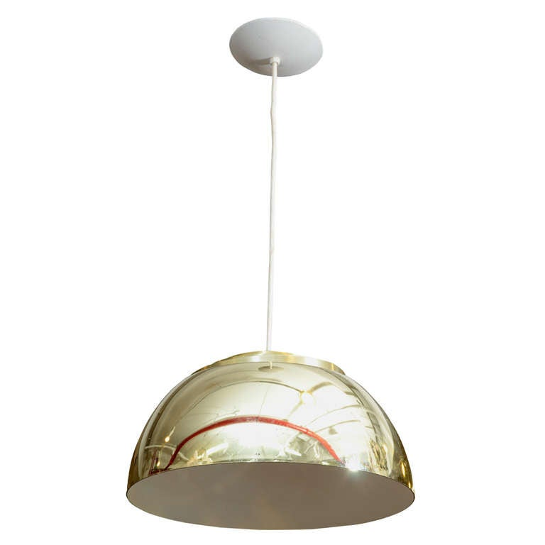 Mid Century Lightolier Half-Globe Pendant Light
