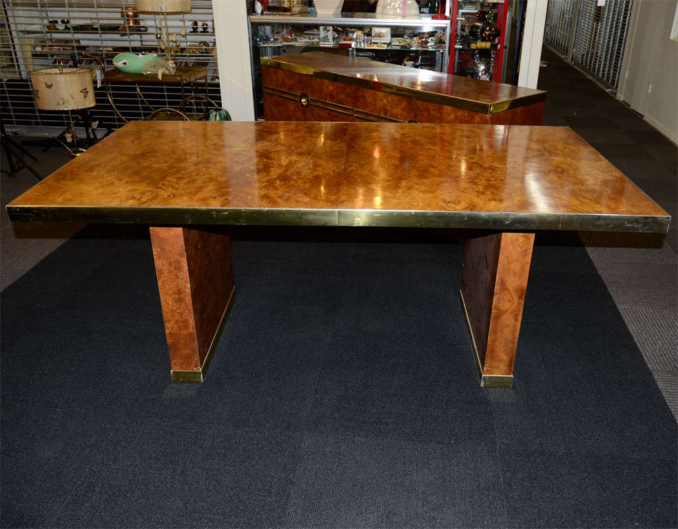 Mid Century Pierre Cardin Burled Olive Wood Dining Table 2
