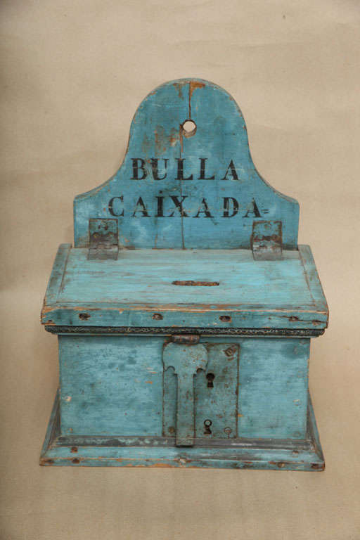 18th C Catalan wall-hanging money box having original powdery blue paint with original lock plate.