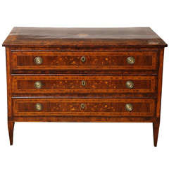 Northern Italian Inlaid Walnut Commode