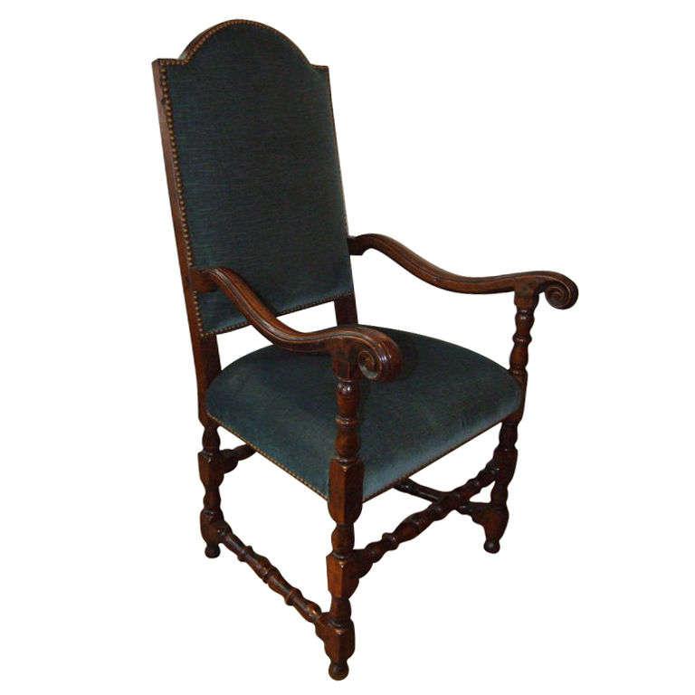 Italian Baroque Walnut Armchair