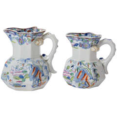 Very Early Pair of Mason's Ironstone Jugs or Pitchers Bamboo Pattern, Ca 1815