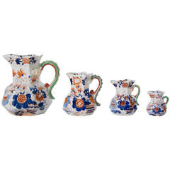 Four Early Mason's Ironstone Jugs or Pitchers Japan Basket Pattern, Circa 1820