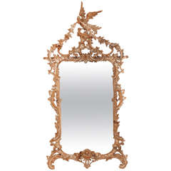 An English Chinese Chippendale Mirror with Limed Finish