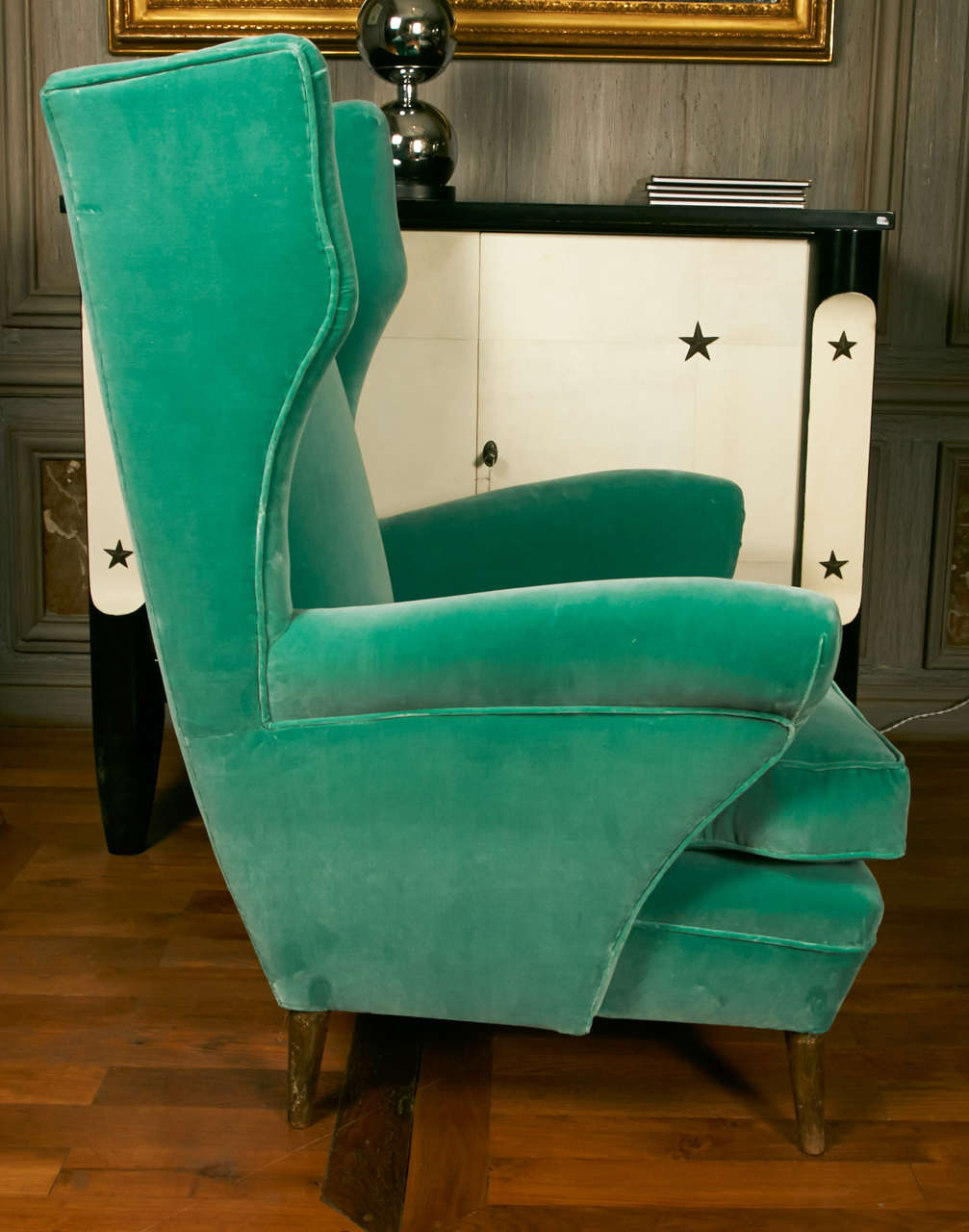 Modern Comfortable Pair of Green Armchairs with Rubelli Velvet Upholstery, Italy, 1960