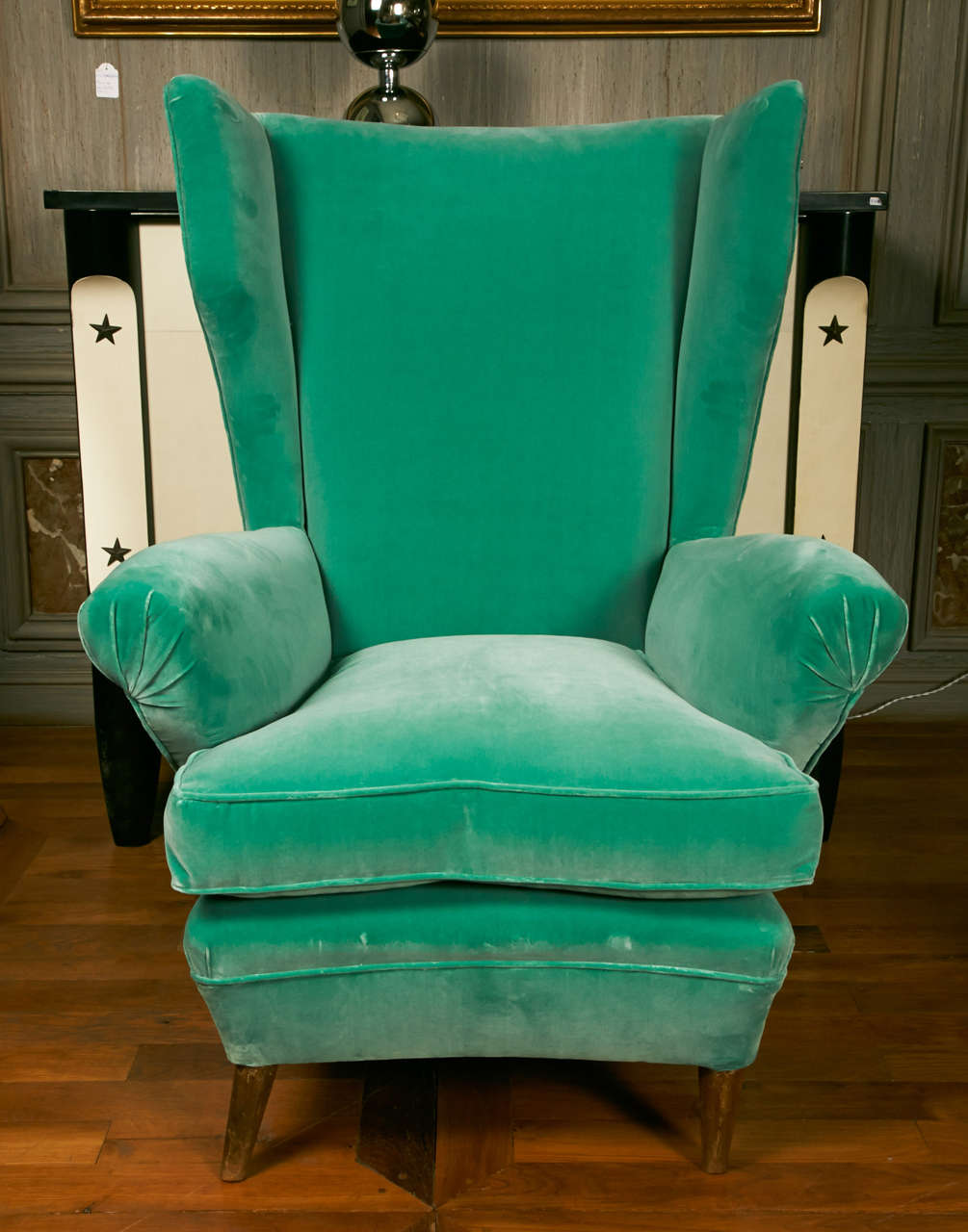 Comfortable Pair of Green Armchairs with Rubelli Velvet Upholstery, Italy, 1960 1