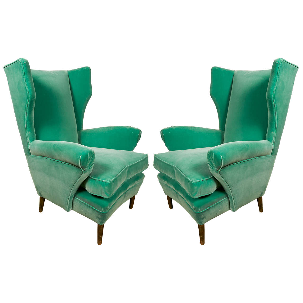 Comfortable Pair of Green Armchairs with Rubelli Velvet Upholstery, Italy, 1960