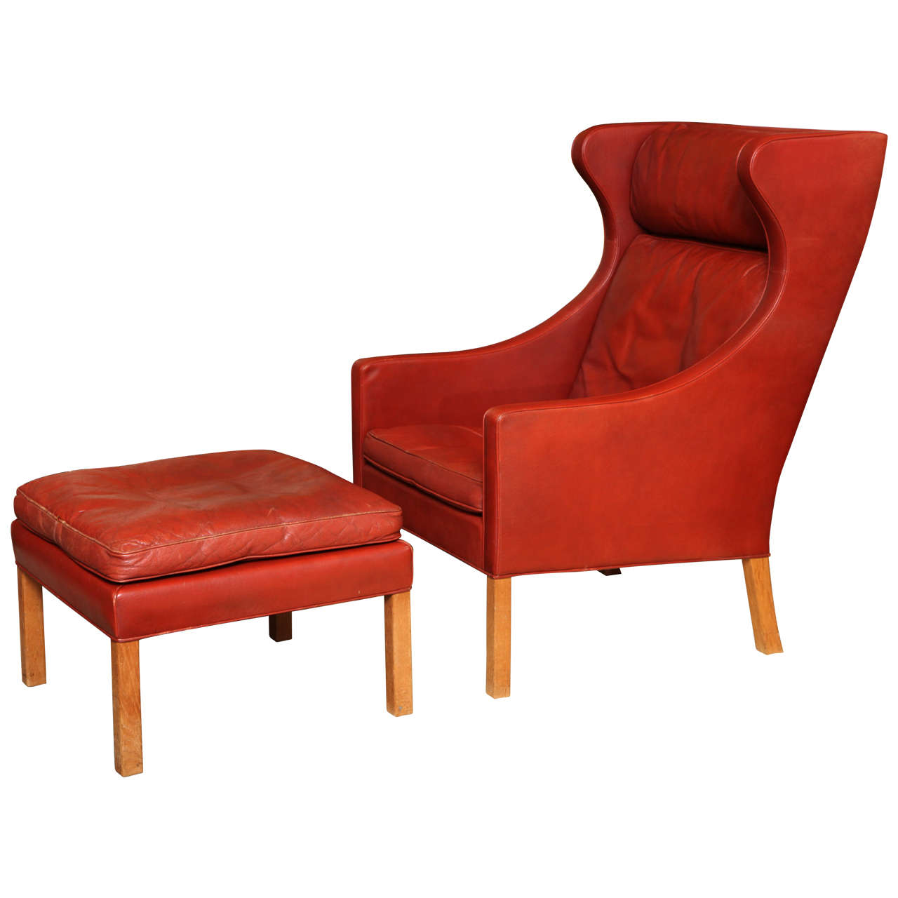 Iconic borge mogensen wingback chair and ottoman at 1stdibs Iconic chair and ottoman