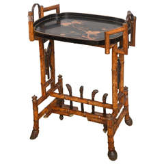 19th Century English Bamboo Table with Decorated Lacquer Tray