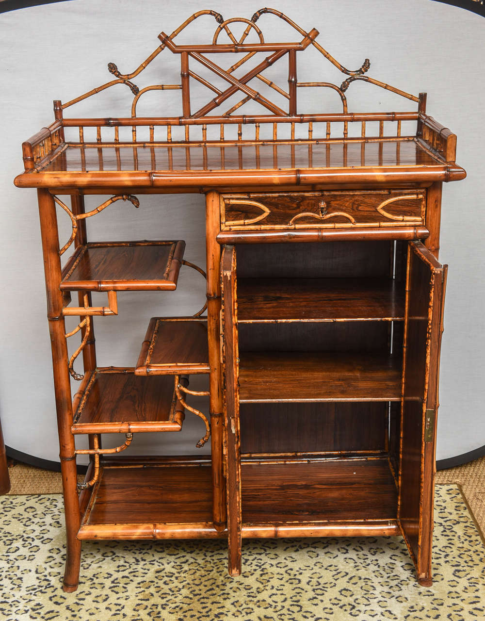 Beau English Bamboo Cabinet Or Bookcase In Excellent Condition For Sale In West  Palm