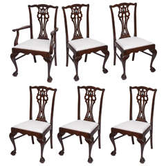 Set of Six English Chippendale Style Chairs, circa 1900