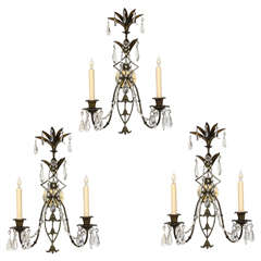 Set of Three French Wall Sconces, 19th Century