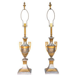 Pair of Polished Spelter Neoclassical Lamps