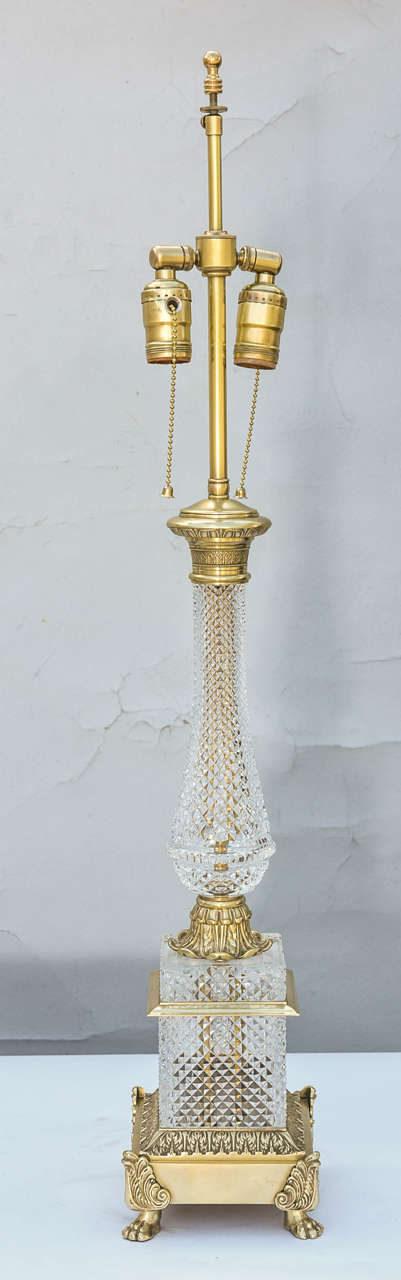 pair of cut crystal empire form lamps at 1stdibs