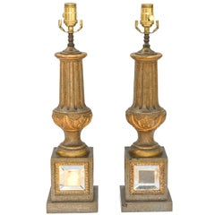 Pair of Midcentury Italian Baluster Form Lamps on Mirrored Base