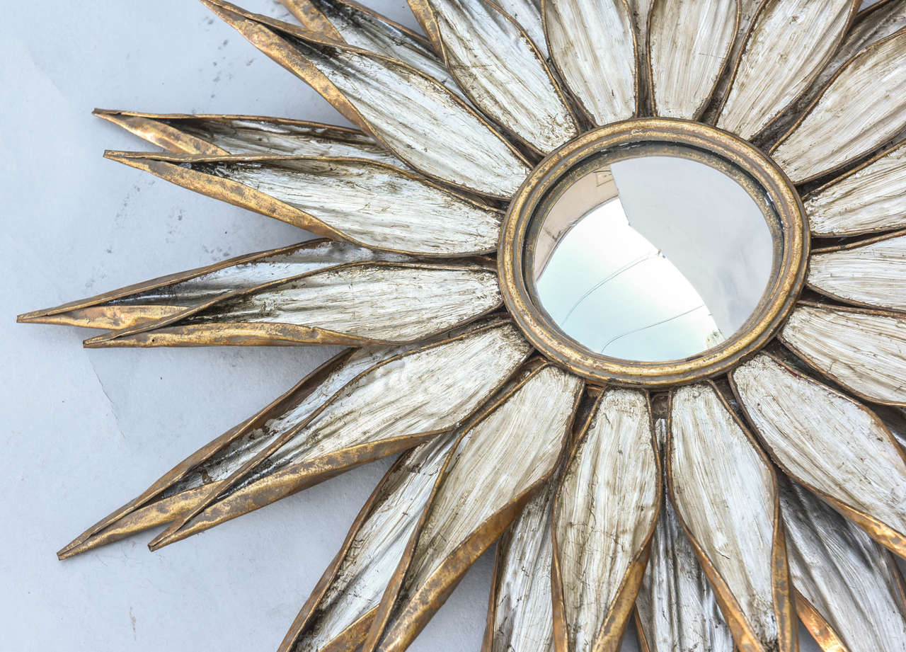 Pair Of Silver And Gold Gilded Metal Convex Sunburst