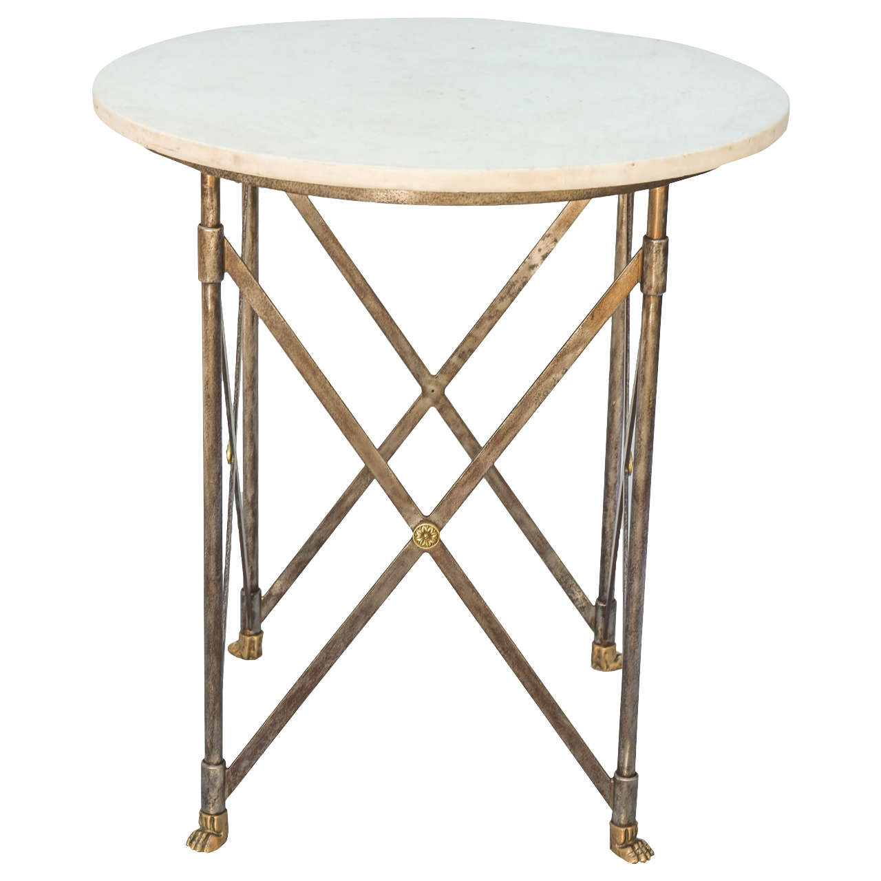 Neoclassical iron table with marble top for sale at 1stdibs for Marble table tops for sale