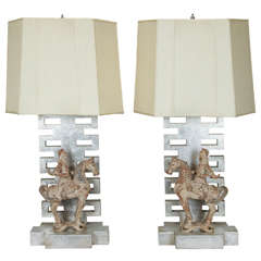 Pair of Lamps by James Mont with Chinese Warrior Figures