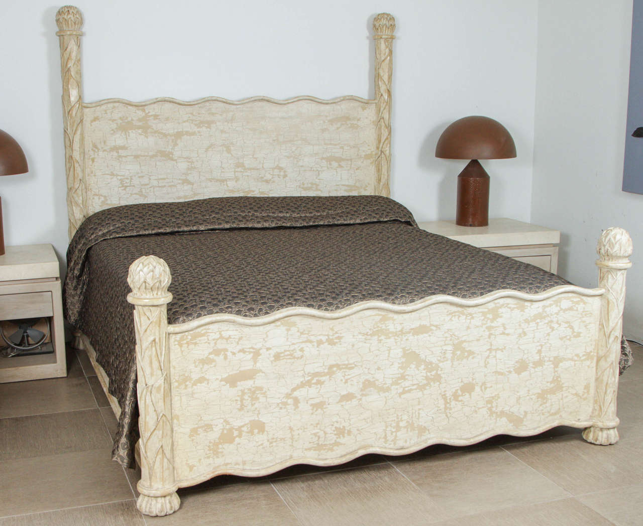Carved wood bed frame with artichoke finials at stdibs