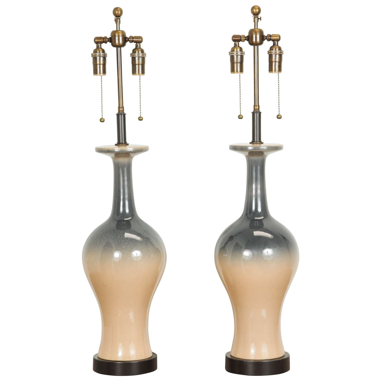Pair of Ceramic Lamps with an Ombré Glaze