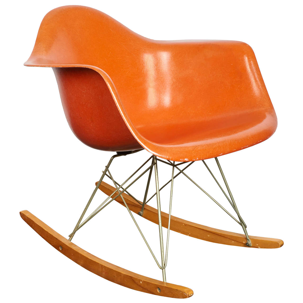 Delightful Charles And Ray Eames Orange Fiberglass Rocker, Manufactured By Herman  Miller For Sale