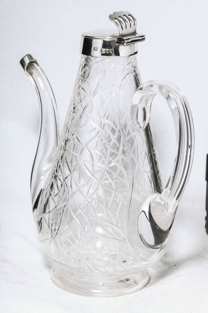 English Unusual Delicate Victorian Sterling Silver-Mounted Lidded Liqueur Jug For Sale