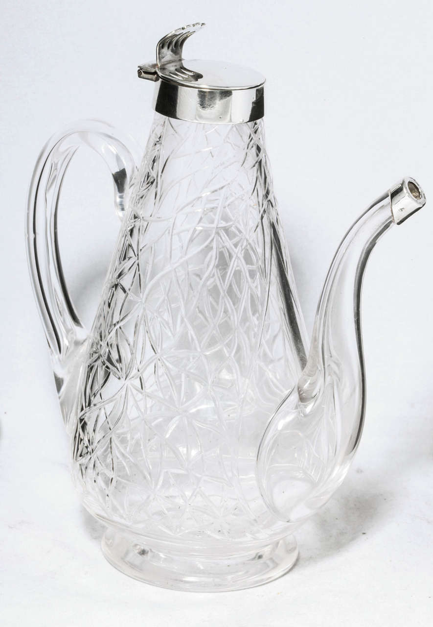 Unusual Delicate Victorian Sterling Silver-Mounted Lidded Liqueur Jug In Excellent Condition For Sale In New York, NY