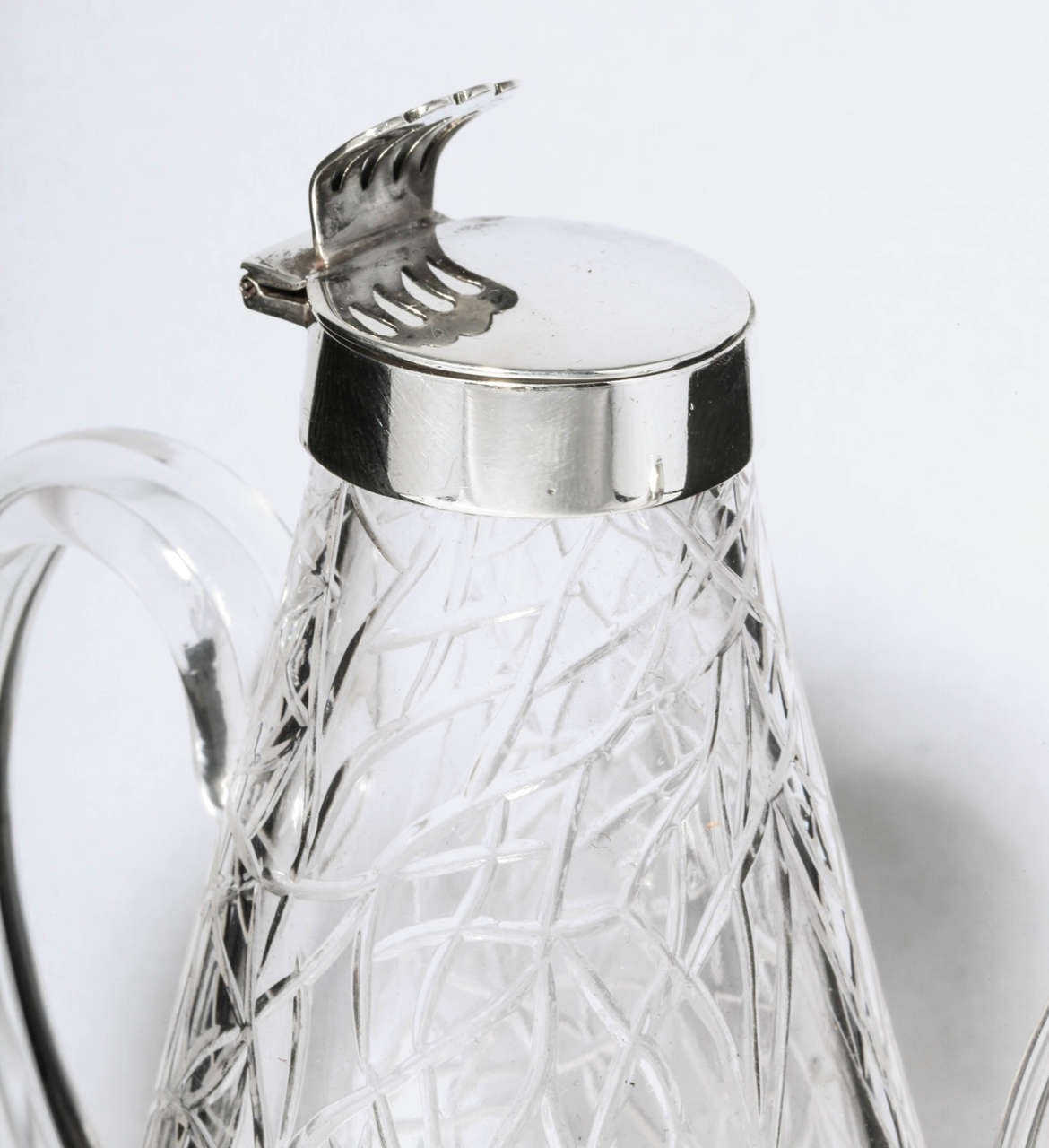 Glass Unusual Delicate Victorian Sterling Silver-Mounted Lidded Liqueur Jug For Sale