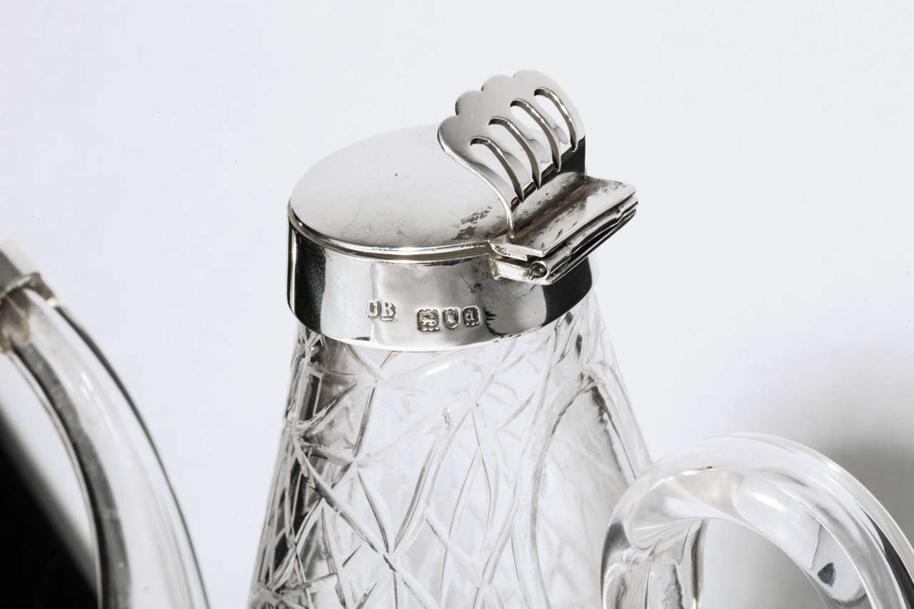 Unusual Delicate Victorian Sterling Silver-Mounted Lidded Liqueur Jug For Sale 1