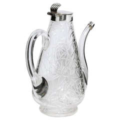 Unusual Delicate Victorian Sterling Silver-Mounted Lidded Liqueur Jug
