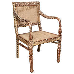 Bone Inlaid Armchair from India