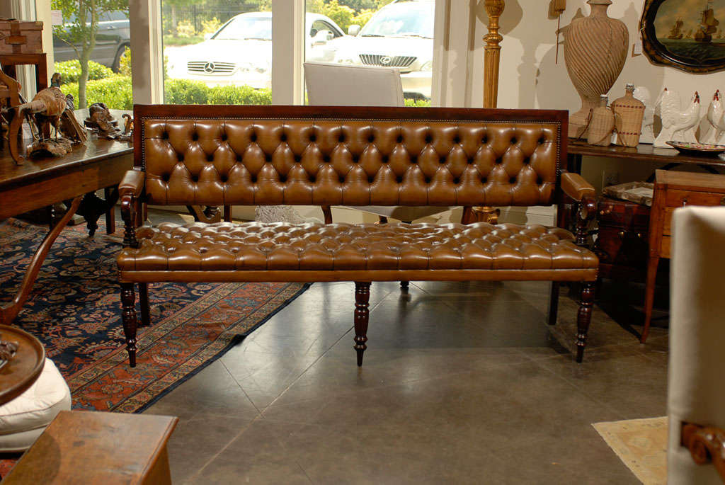 Pair of Leather Upholstered Benches 2