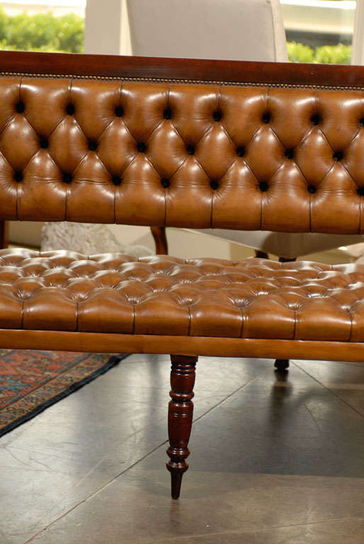 Pair of Leather Upholstered Benches 4
