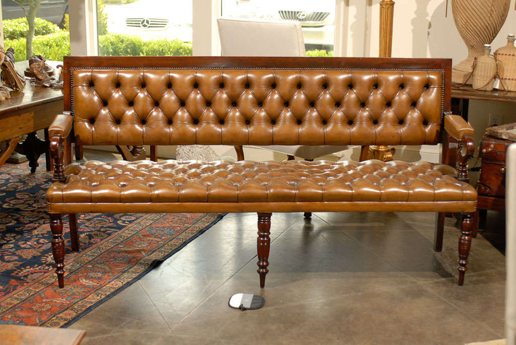 Pair of Leather Upholstered Benches 9