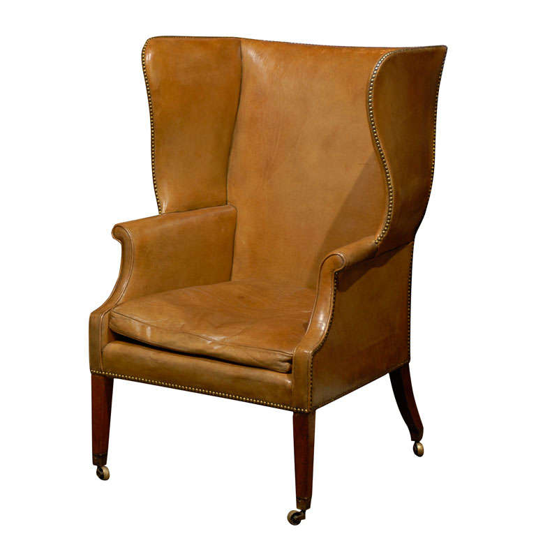 Large Leather Wing Chair At 1stdibs
