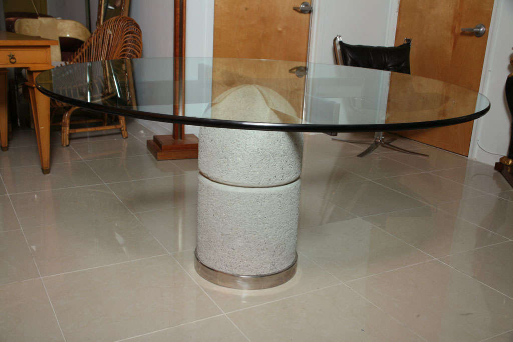 Italian Glass Chrome and Stone Dining/Center Table, Giovanni Offredi For Sale