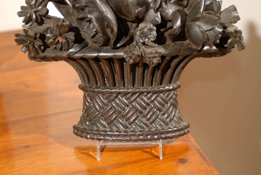 Wood 19th Century French Carved Basket of Flowers For Sale