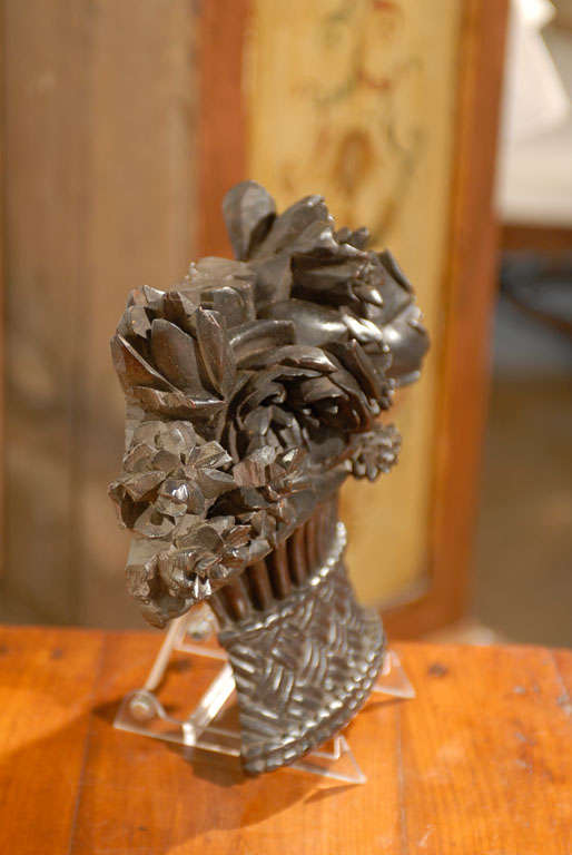 19th Century French Carved Basket of Flowers For Sale 2
